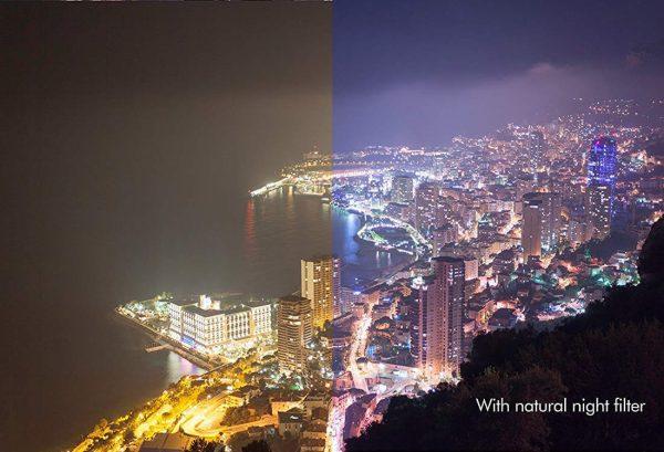 Natural Night Filter reduziert die Lichtverschmutzung.