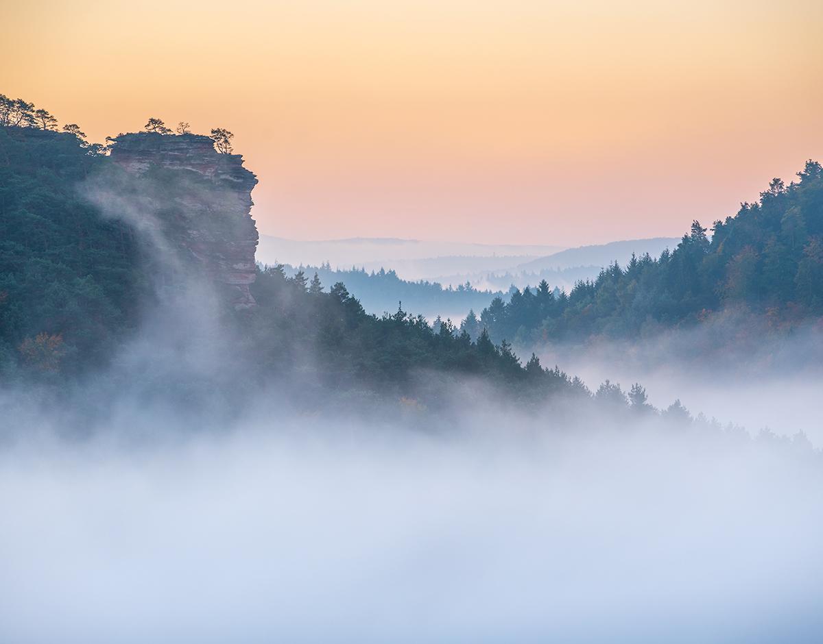 Wettervorhersage von Nebel für die Landschaftsfotografie.