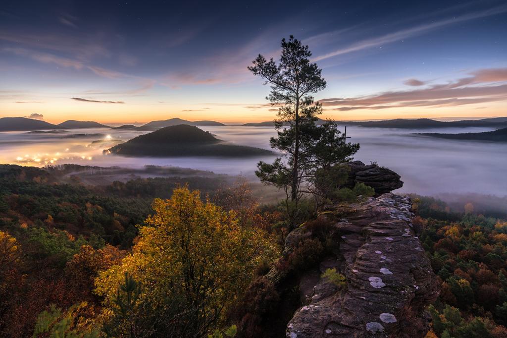 Rötzenfelsen im Pfälzerwald fotografiert im Nebel