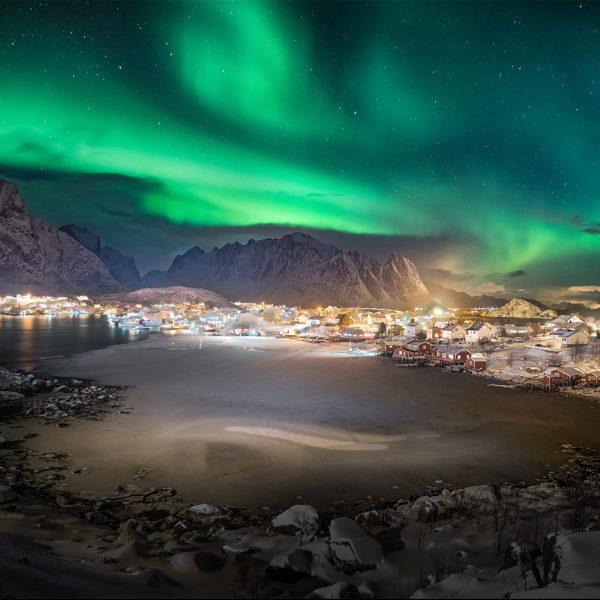 Das Polarlicht am Himmel über den Lofoten.