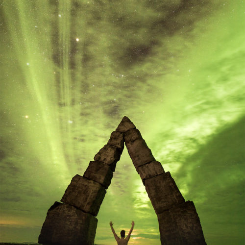 Selbstportrait mit Polarlicht auf Island.