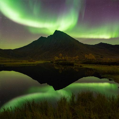 Ein Berg auf Senja spiegelt sich mit dem Polarlicht im Wasser.